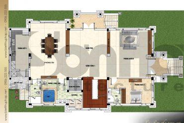 4 Mặt bằng công năng tầng 1 biệt thự tân cổ điển đẹp tại quảng ninh sh btcd 0044