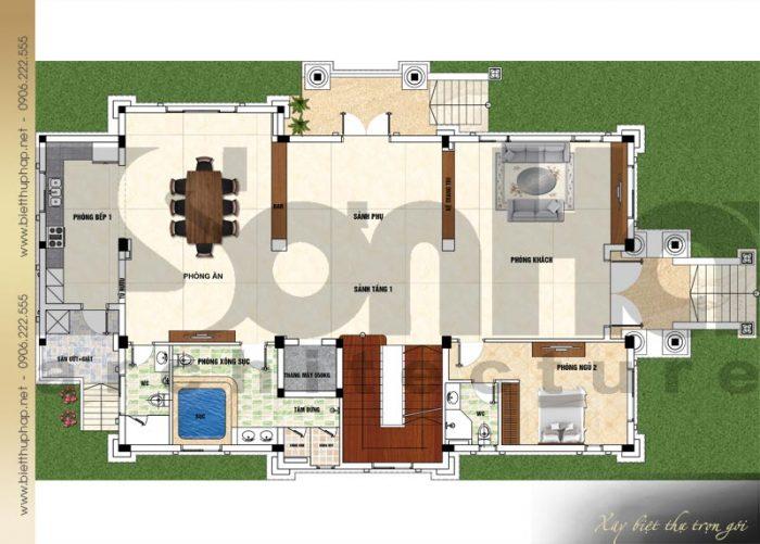 Bản vẽ mặt bằng công năng tầng 1 biệt thự tân cổ điển mái thái 3 tầng tại Quảng Ninh