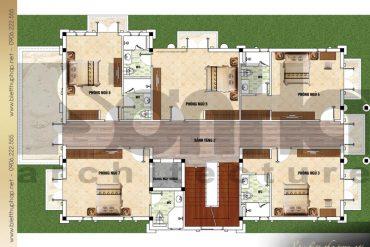 5 Mặt bằng công năng tầng 2 biệt thự tân cổ điển 2 mặt tiền tại quảng ninh sh btcd 0044
