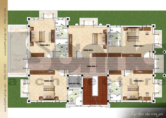 Bản vẽ mặt bằng công năng tầng 2 biệt thự tân cổ điển mái thái 3 tầng tại Quảng Ninh