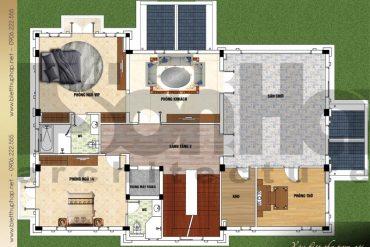 6 Mặt bằng công năng tầng 3 biệt thự mái thái đẹp tại quảng ninh sh btcd 0044