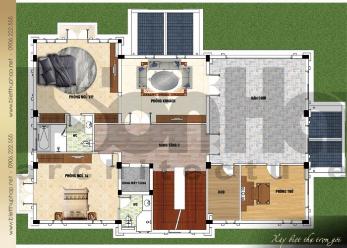 Bản vẽ mặt bằng công năng tầng 3 biệt thự tân cổ điển mái thái 3 tầng tại Quảng Ninh
