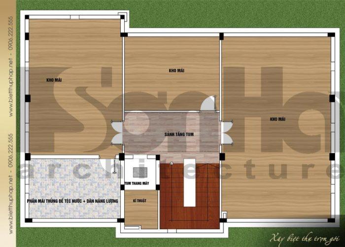 Bản vẽ mặt bằng công năng tầng áp mái biệt thự tân cổ điển mái thái 3 tầng tại Quảng Ninh