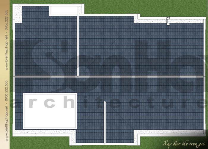 Bản vẽ mặt bằng công năng mái biệt thự tân cổ điển mái thái 3 tầng tại Quảng Ninh