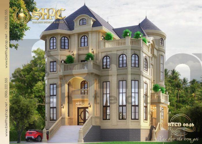 Mẫu thiết kế biệt thự tân cổ điển 4 tầng 2 mặt tiền nổi bật với hệ mái chóp vươn cao tại Hà Nội