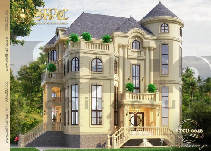 Phối cảnh thiết kế kiến trúc cho thấy sự uy nghi, vững chãi của ngôi biệt thự tân cổ điển 4 tầng tại Hà Nội
