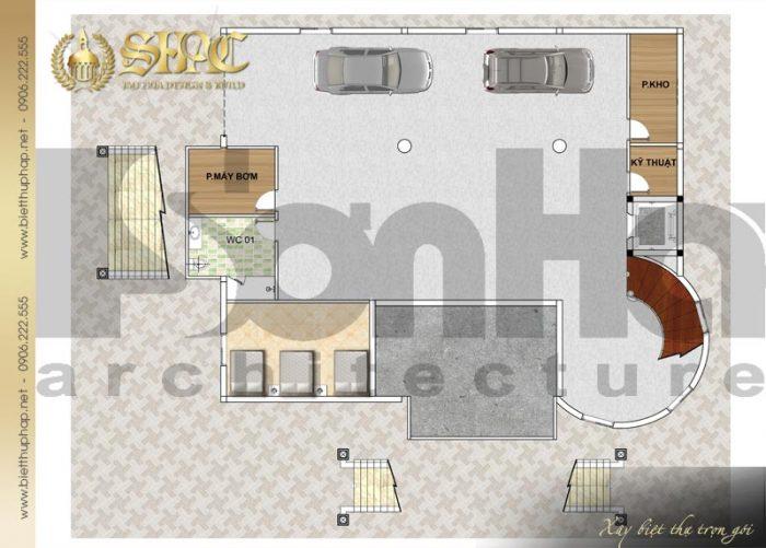 Phương án bố trí công năng tầng hầm biệt thự tân cổ điển diện tích 241,5m2 tại Hà Nội