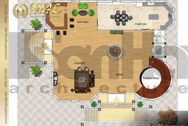 5 Mặt bằng công năng tầng 1 biệt thự tân cổ điển 2 mặt tiền tại hà nội sh btcd 0046