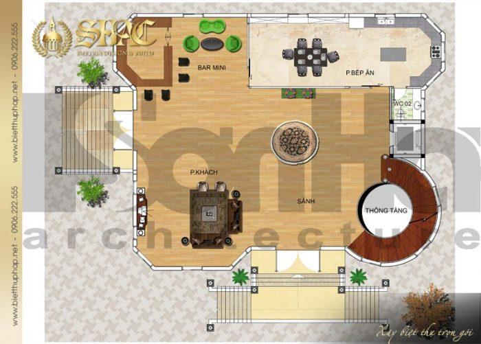 Phương án bố trí công năng tầng 1 biệt thự tân cổ điển diện tích 241,5m2 tại Hà Nội