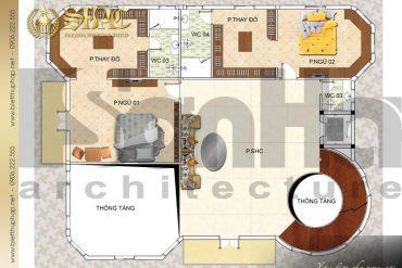 6 Mặt bằng công năng tầng 2 biệt thự tân cổ điển pháp tại hà nội sh btcd 0046