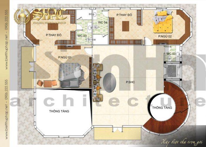 Phương án bố trí công năng tầng 2 biệt thự tân cổ điển diện tích 241,5m2 tại Hà Nội
