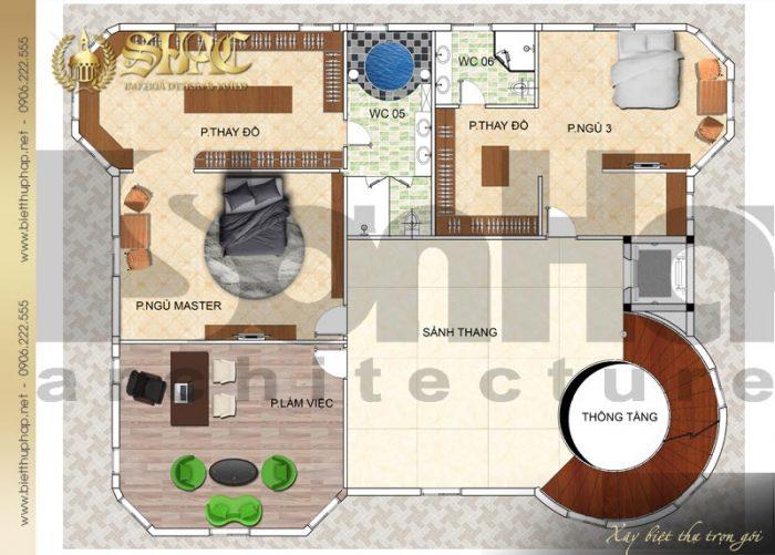 Phương án bố trí công năng tầng 3 biệt thự tân cổ điển diện tích 241,5m2 tại Hà Nội