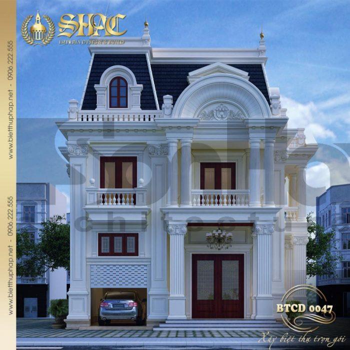Chiêm ngưỡng không gian kiến trúc ngôi biệt thự tân cổ điển 3 tầng 2 mặt tiền nổi bật tại Sài Gòn
