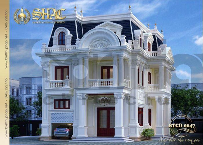 Kiến trúc ngôi biệt thự tân cổ điển 2 mặt tiền hội tụ những nét đẹp tinh tế và kiêu sa của dòng kiến trúc tân cổ điển Pháp khiến bao người phải ngoái nhìn