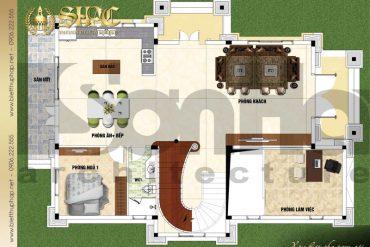 4 Mặt bằng công năng tầng lửng biệt thự tân cổ điển 3 tầng tại sài gòn sh btcd 0047