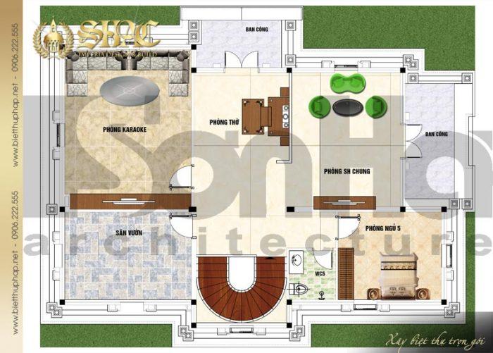 Bản vẽ chi tiết mặt bằng công năng tầng áp mái biệt thự tân cổ điển diện tích 184,45m2 tại Sài Gòn