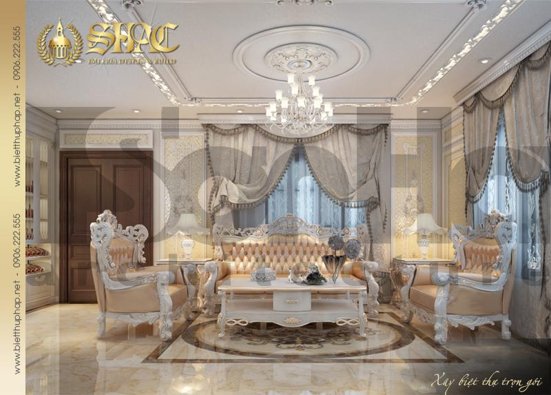 1 Thiết kế nội thất phòng khách biệt thự tân cổ điển tại hải phòng