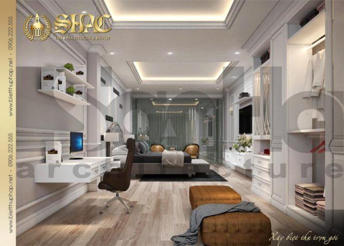 Căn phòng được trang trí với gam màu trắng chủ đạo nhẹ nhàng và cá tính