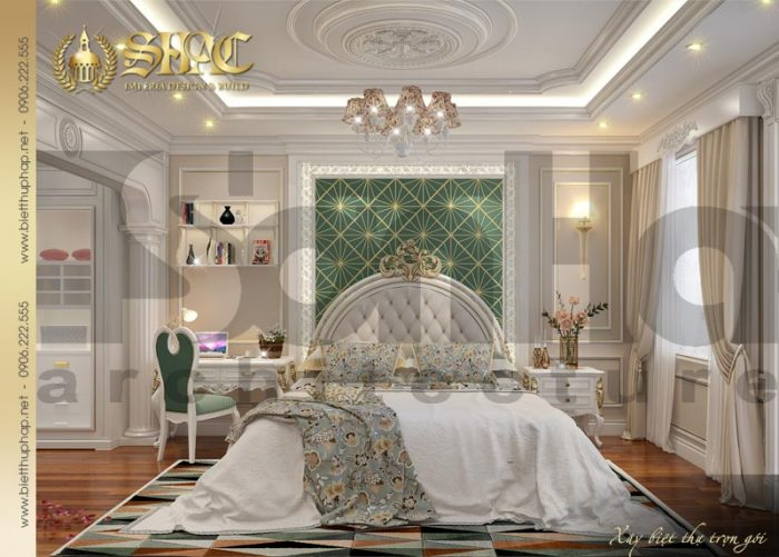 Căn phòng ngủ được thiết kế dành riêng cho con gái gia chủ với gam màu cá tính, tươi mới