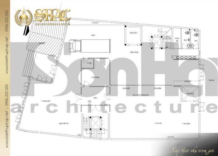 Chi tiết mặt bằng công năng tầng trệt biệt thự tân cổ điển Châu Âu diện tích 475,9m2 tại Sài Gòn