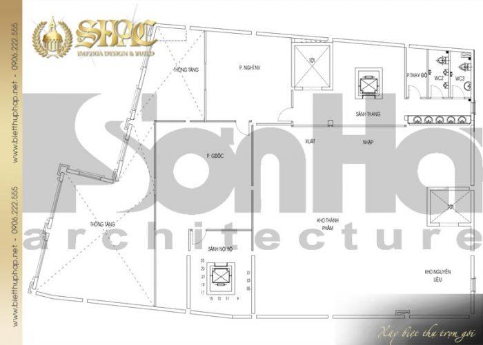 Chi tiết mặt bằng công năng tầng lửng biệt thự tân cổ điển Châu Âu diện tích 475,9m2 tại Sài Gòn