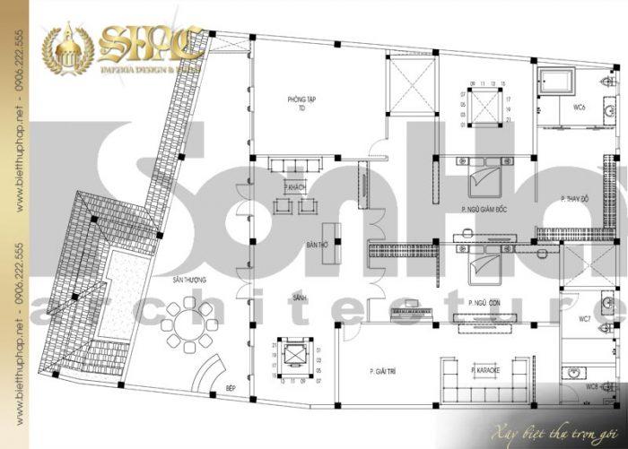 Chi tiết mặt bằng công năng tầng 2 biệt thự tân cổ điển Châu Âu diện tích 475,9m2 tại Sài Gòn