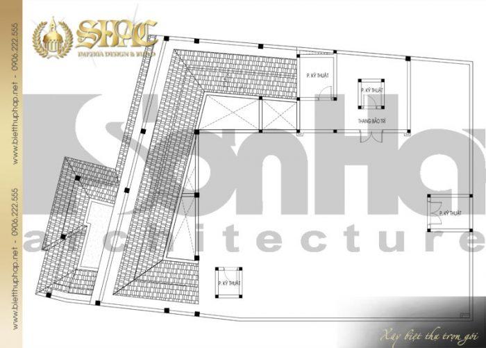 Chi tiết mặt bằng công năng tầng mái biệt thự tân cổ điển Châu Âu diện tích 475,9m2 tại Sài Gòn