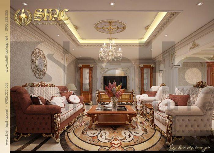 Không gian nội thất phòng khách biệt thự đẳng cấp đậm chất Châu Âu vương giả
