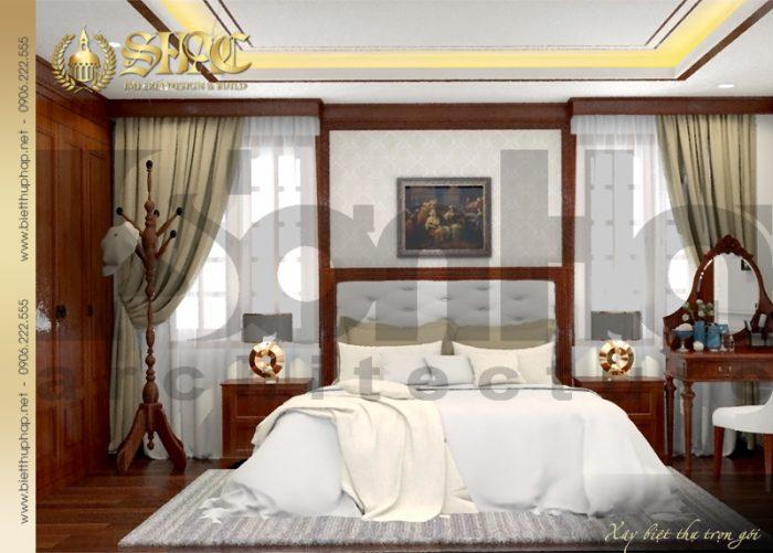 Mẫu thiết kế phòng ngủ với nội thất gỗ mang phong cách tân cổ điển rất được lòng gia chủ