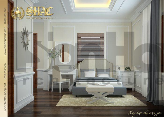 Ý tưởng trang trí nội thất phòng ngủ biệt thự tân cổ điển đẹp với màu sắc hài hòa, hợp thời