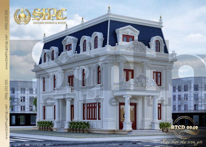 Mẫu biệt thự 3 tầng mặt tiền 10m phong cách tân cổ điển Pháp sang trọng và tiện nghi bậc nhất tại Hà Nội