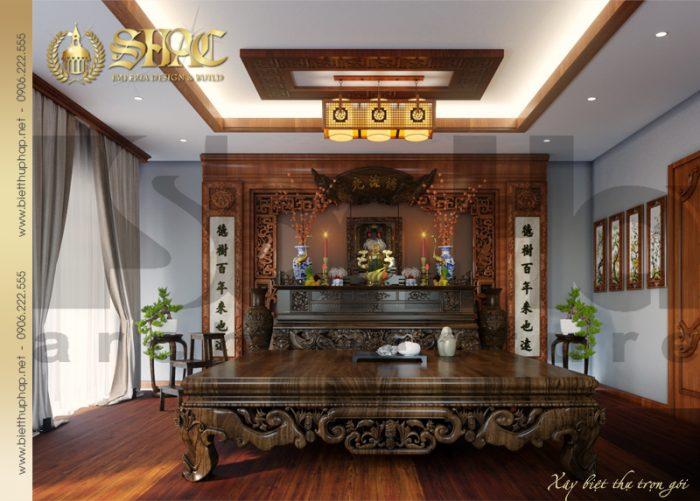 Phương án bố trí nội thất phòng thờ biệt thự tân cổ điển 3 tầng tại Hà Nội