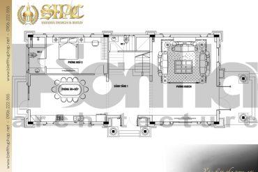 21 Mặt bằng công năng tầng 1 biệt thự tân cổ điển mặt tiền 10m tại hà nội sh btcd 0049