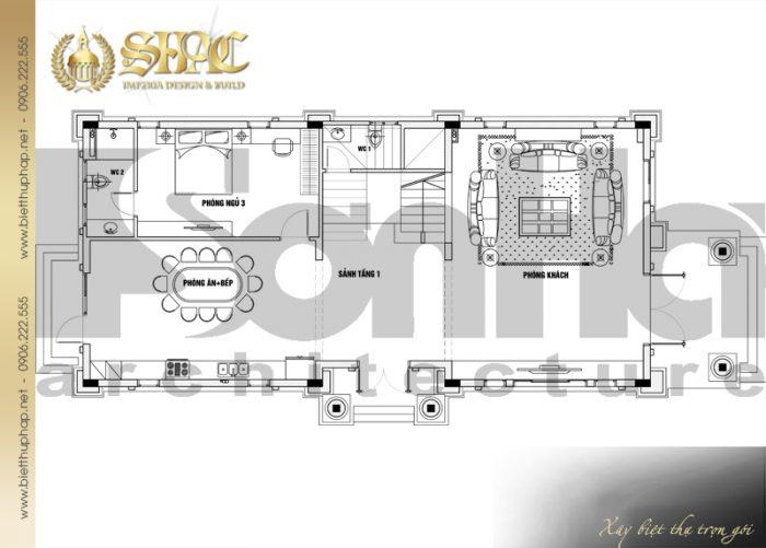 Phương án bố trí công năng tầng 1 biệt thự tân cổ điển diện tích sàn 231,9m2 tại Hà Nội