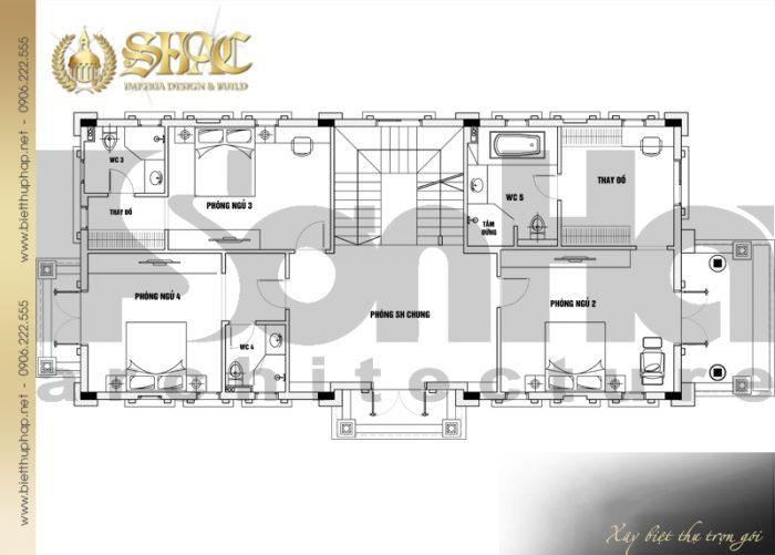 Phương án bố trí công năng tầng 2 biệt thự tân cổ điển diện tích sàn 231,9m2 tại Hà Nội