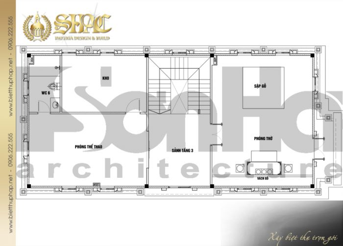 Phương án bố trí công năng tầng 3 biệt thự tân cổ điển diện tích sàn 231,9m2 tại Hà Nội