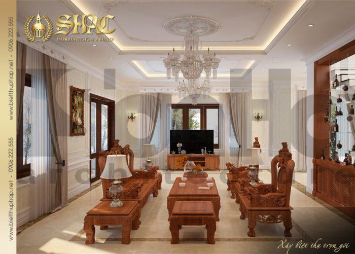 Phòng khách của biệt thự lựa chọn phong cách thiết kế tân cổ điển trang nhã, lịch thiệp tại tầng 1