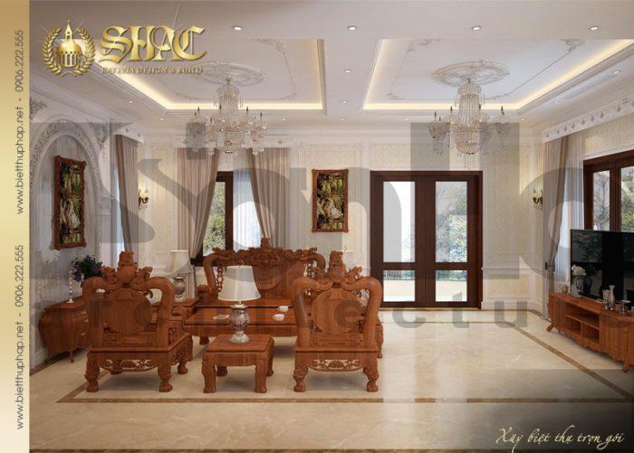 Không gian phòng khách sạn trọng và ấn tượng của ngôi biệt thự tân cổ điển 3 tầng