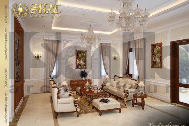 7 Thiết kế nội thất phòng khách biệt thự tân cổ điển mặt tiền 10m tại hà nội sh btcd 0049