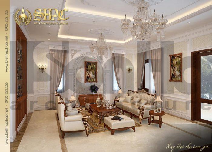 Thêm một mẫu thiết kế nội thất phòng khách đậm chất tân cổ điển dành riêng cho biệt thự 3 tầng tại Hà Nội