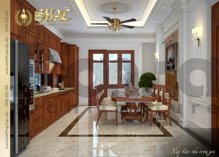 Mẫu phòng bếp ăn biệt thự với nội thất gỗ thiết kế đơn giản mà độc đáo