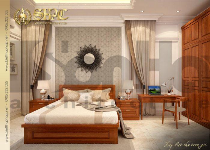 Mẫu thiết kế nội thất phòng ngủ biệt thự mang hơi hướng tân cổ điển lịch thiệp