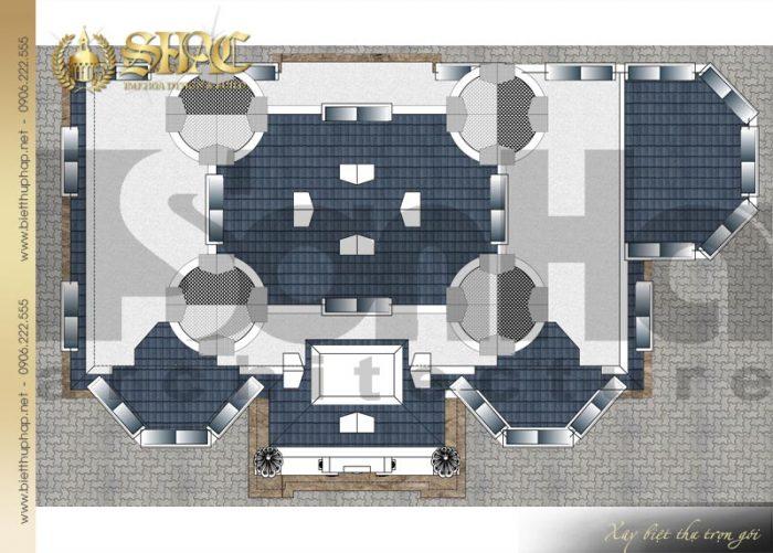 Chi tiết mặt bằng công năng tầng mái biệt thự lâu đài diện tích 163,9m2 tại Hà Nội