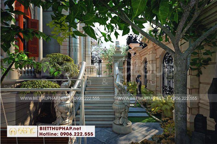 Không gian sân vườn biệt thự đẹp, thiết kế hài hòa với cảnh quan chung của ngôi biệt thự