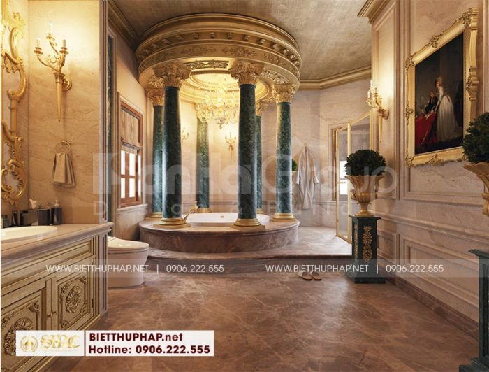 Thiết kế phòng tắm vip với nội thất cao cấp trong không gian phòng ngủ biệt thự