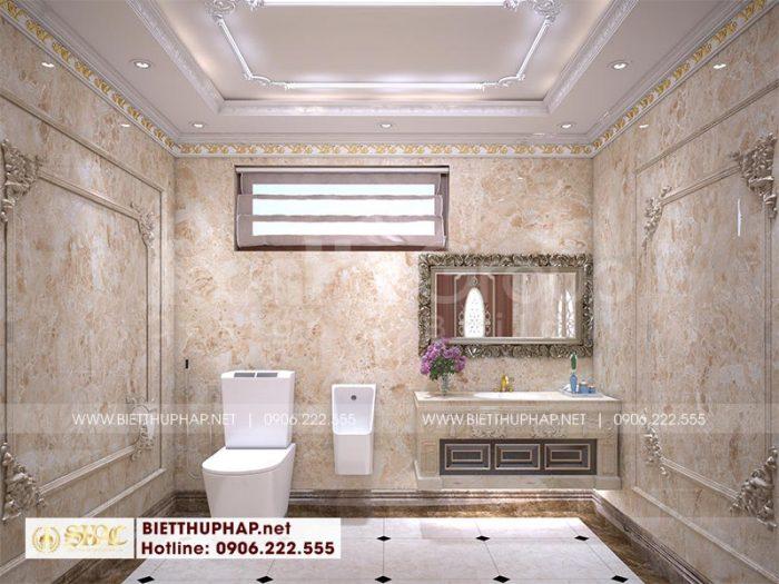 Thiết kế nội thất phòng tắm biệt thự lâu đài đẹp và tiện nghi với màu sắc hoàng gia Châu Âu