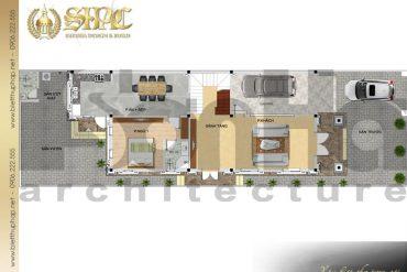 4 Mặt bằng công năng tầng 1 biệt thự tân cổ điển mặt tiền 9m tại hải phòng sh btcd 0053