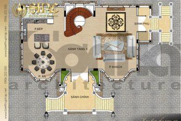 5 Bản vẽ tầng 1 biệt thự lâu đài cổ điển tại hà nội sh btld 0040