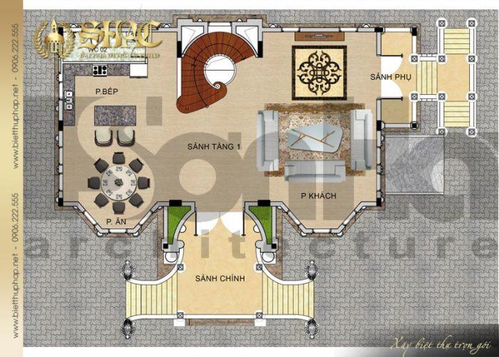 Chi tiết mặt bằng công năng tầng 1 biệt thự lâu đài diện tích 163,9m2 tại Hà Nội