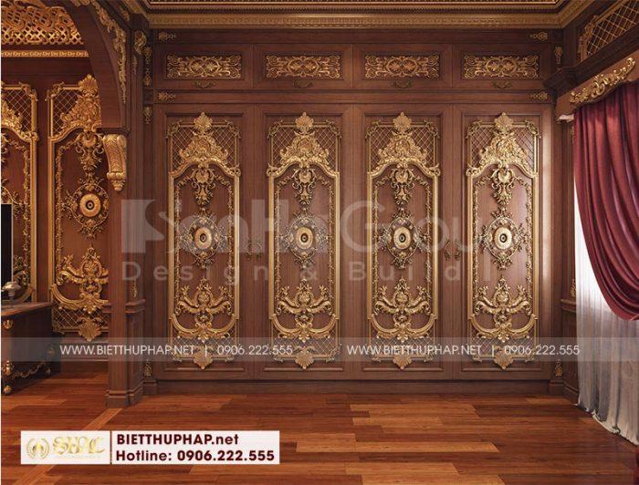 Bố trí khu thay đồ nội thất gỗ cao cấp khoa học trong căn phòng ngủ biệt thự
